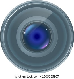 One quality grey smartphone lens with colored highlights on front view isolated, part of optical instrument