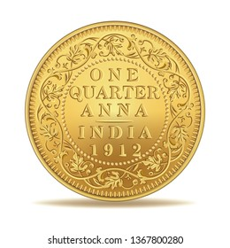 One quarter anna indian antique coin 1912 in vector illustration