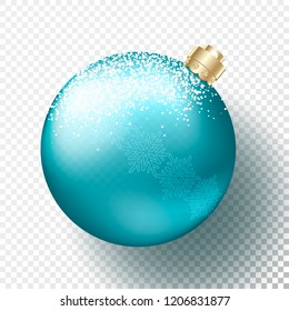One Realistic Christmas or New Year transparent Bauble, spheres or balls in metallic bright blue color with snow and snowflakes pattern, gold decorative cap and shadow. Vector illustration eps10