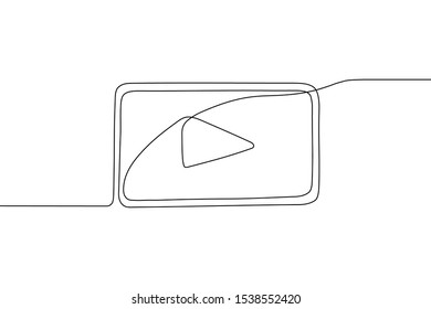 One rectangular play button with triangle in middle drawing in style of one continuous line black color. Self drawing