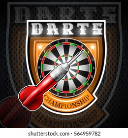 One red darts with round target in center of shield. Sport logo for any darts game or championship