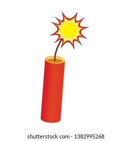 One red dynamite stick, with burning wick, comic style bomb. Burning dynamite stick, comic pop style with wick fire. Comic burning red dynamite bang or bomb.