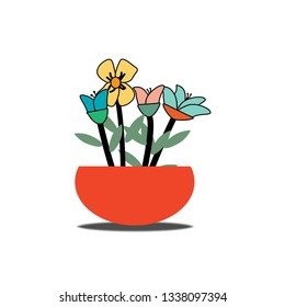 One of red flowerpot with growing flowers colorful. Vector design.