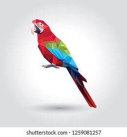 One red Macaw with green and blue wings low polygon isolated on white background, colorful parrot bird modern geometric icon, pet crystal design illustration.