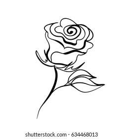 One rose, sketch, vector