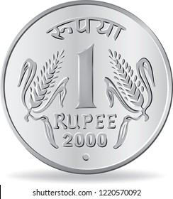 One rupee coin silver in vector illustration