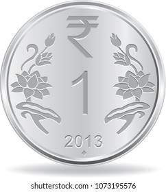 One rupee coin in vector illustration