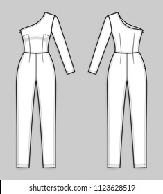 One shoulder bodycon jumpsuit with asymmetrical neckline, hidden zipper in a side seam, ankle length tapered leg, one long sleeve. Women's jumpsuit. Back and front. Technical flat sketch, vector.