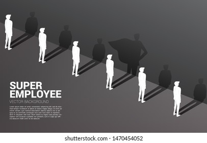 One of Silhouette of businessmen with his shadow of super human on wall.concept of empower potential and human resource management