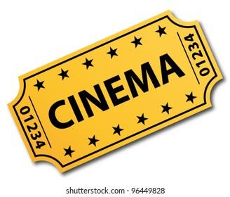 One single cinema ticket. Vector icon.