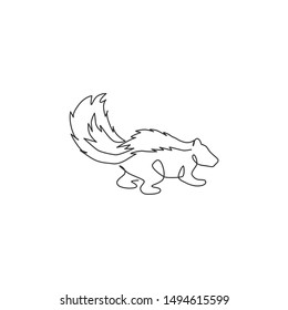 One single line drawing of adorable striped skunk for company logo identity. Sprayer liquid with stink smell animal mascot concept for zoo icon. Modern continuous line draw design vector illustration