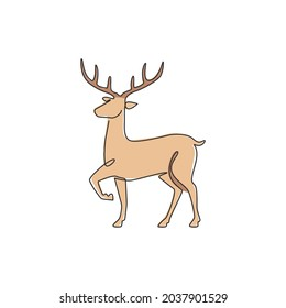 One single line drawing of adorable funny deer for company logo identity. Cute reindeer mammal animal mascot concept for public zoo. Modern continuous line draw graphic design vector illustration