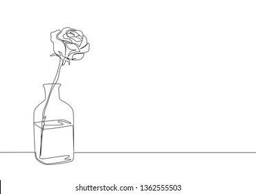 One single line drawing of beautiful rose flower on glass vase. Greeting card, invitation, logo, banner, poster concept continuous line draw design illustration