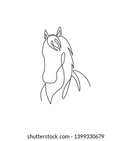 One single line drawing of beauty elegance horse head for company logo identity. Cute pony horse mammal animal symbol concept. Trendy continuous line draw design vector graphic illustration