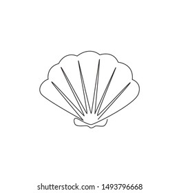 One single line drawing of beauty scallop for Chinese restaurant logo identity. Seashell mascot concept for fresh seafood icon. Modern continuous line draw design vector illustration