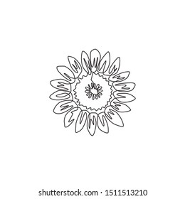 One single line drawing of beauty fresh sunflower for garden logo identity. Printable decorative helianthus summer flower concept for ornament. Modern continuous line draw design vector illustration