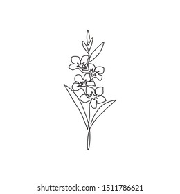 One single line drawing of beauty fresh gladiolus for garden logo. Printable decorative sword gladius flower concept for park icon. Modern continuous line draw design vector illustration