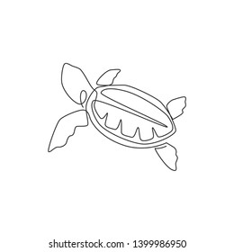 One single line drawing of big turtle for marine company logo identity. Adorable tortoise creature reptile animal mascot concept for conservation foundation. Continuous line draw design illustration
