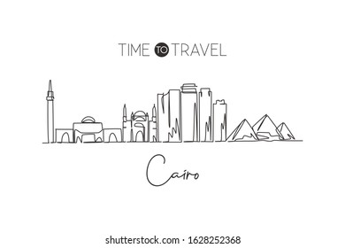 One single line drawing of Cairo city skyline, Egypt. Historical town landscape postcard print. Best holiday destination. Editable stroke trendy continuous line draw design vector graphic illustration