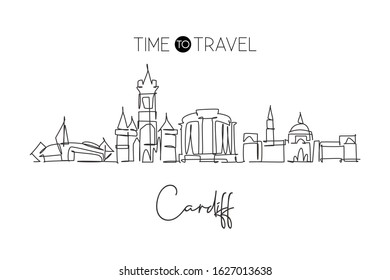 One single line drawing of Cardiff city skyline, Wales. Historical town landscape in the world. Best holiday destination poster. Editable stroke trendy continuous line draw design vector illustration