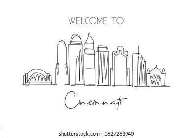 One single line drawing of Cincinnati city skyline, Ohio. Historical town landscape. Best holiday destination home wall decor art poster print. Trendy continuous line draw design vector illustration