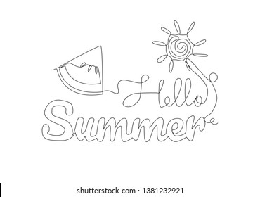 One single line drawing of cute and cool travel time typography quote - Hello Summer. Calligraphic design for print, card, banner, poster. Continuous line draw design illustration