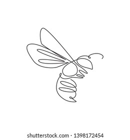 One single line drawing of cute bee for company logo identity. Honeybee farm icon concept from wasp animal shape. Continuous line draw design illustration