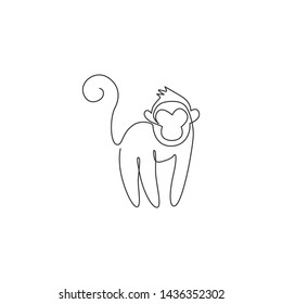 One single line drawing of cute monkey for company business logo identity. Adorable primate animal mascot concept for corporate icon. Continuous line draw design vector illustration