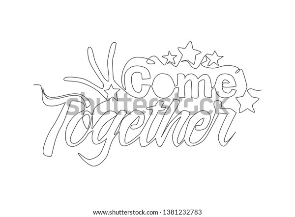 One Single Line Drawing Cute Fabulous Stock Vector (Royalty