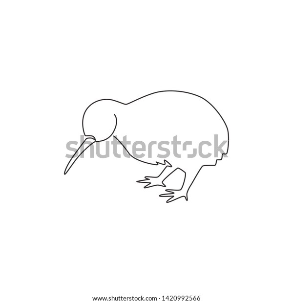 One Single Line Drawing Cute Kiwi Stock Vector Royalty Free