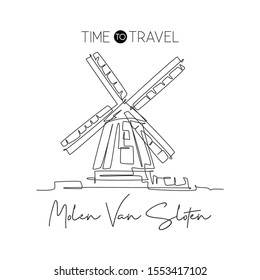 One single line drawing De Gooyer Windmill landmark. World famous place in Netherlands. Tourism travel postcard wall decor poster print concept. Modern continuous line draw design vector illustration
