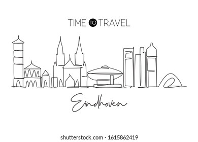 One single line drawing of Eindhoven city skyline, Netherlands. Historical skyscraper landscape in world. Best holiday destination wall decor poster. Continuous line draw design vector illustration
