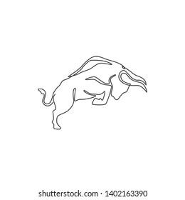 One single line drawing of elegance buffalo for conservation national park logo identity. Big strong bull mascot concept for rodeo show. Continuous line draw design illustration