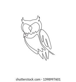 One single line drawing of elegant owl bird for company logo identity. Symbol of education, wisdom, wise, school, smart, knowledge icon concept. Continuous line draw design illustration