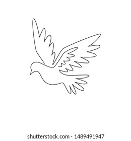 One single line drawing of elegant fly dove bird for logo identity. Pigeon mascot concept for cancer fighter icon. Continuous line draw design vector illustration