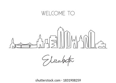 One single line drawing Elizabeth city skyline, New Jersey. World historical town landscape. Best holiday destination postcard. Editable stroke trendy continuous line draw design vector illustration