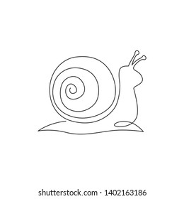 One single line drawing of exotic snail mascot concept for healthy food logo identity. High nutritious escargot healthy food. Continuous line draw design illustration