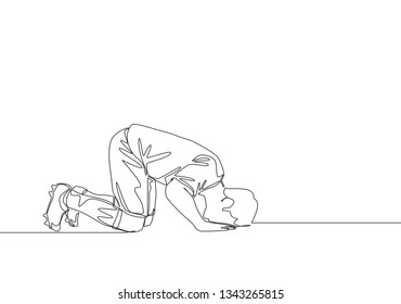 One single line drawing of football player celebrates his goal with sujud of gratitude gesture. Goal celebration concept continuous line draw design illustration