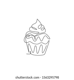 One single line drawing of fresh sweet muffin cake online shop logo vector illustration. Delicious pastry shop menu and restaurant badge concept. Modern continuous line draw design cookies logotype