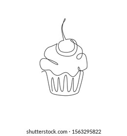 One single line drawing of fresh muffin with cherry cake online shop logo vector illustration. Sweet pastry cafe menu and restaurant badge concept. Modern continuous line draw design cookies logotype