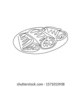 One single line drawing of fresh crispy crepes on plate logo vector illustration. Sweet snack fast food cafe menu and restaurant badge concept. Modern continuous line draw design street food logotype