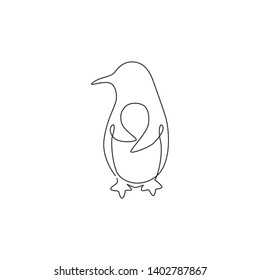 One single line drawing of fun cute penguin for company business logo identity. North pole bird mascot concept for national zoo park. Modern continuous line graphic vector draw design illustration
