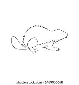One single line drawing of funny beaver for logo identity. Rodent animal mascot concept for pet lover club icon. Continuous line draw design vector illustration