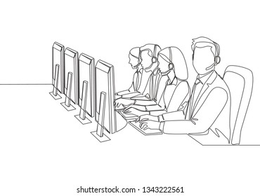 One single line drawing group of male and female customer service team members answer complaint phone call from clients kindly. Call center concept continuous line draw design illustration