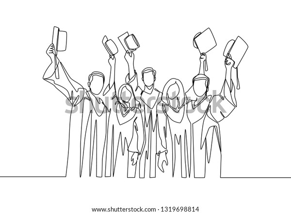 One Single Line Drawing Group Male Stock Vector (Royalty