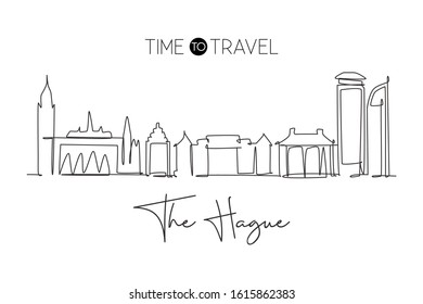 One single line drawing of The Hague city skyline, Netherlands. Historical skyscraper landscape in the world. Best holiday destination. Editable trendy continuous line draw design vector illustration