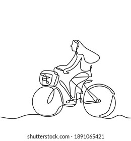 One single line drawing happy young woman riding bicycle in the street. A cheerful girl enjoying cycling in the morning to get some fresh air. Healthy lifestyle concept. Vector illustration