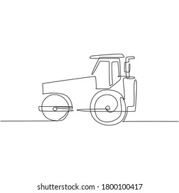One single line drawing of harvester tractor for farming harvest vector illustration, commercial vehicle. Heavy machines vehicles agriculture concept. Modern continuous line graphic draw design