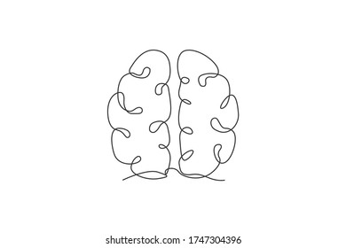 One single line drawing of human brain for memorizing medical clinic logo identity. Psychological office icon logotype concept. Dynamic continuous line draw design vector graphic illustration