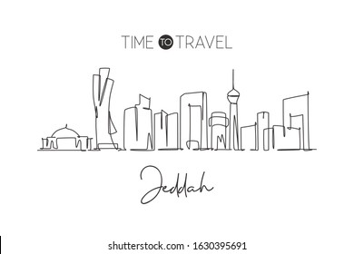 One single line drawing of Jeddah city skyline, Saudi Arabia. World historical town landscape. Best holiday destination wall decor poster print. Trendy continuous line draw design vector illustration
